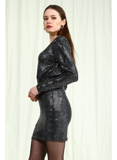 Collezione Siyah V Yaka Desenli Pullu Kadın Elbise Siyah